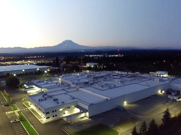 overhead view of manufacturing facility at evening