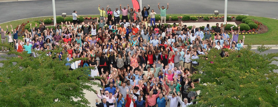 Aerial photo of ADP Norfolk, Virginia Office employees.