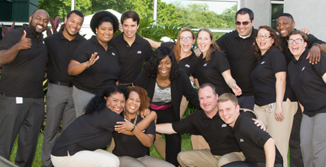 Group photo of ADP employees in front of the new ADP Maitland, Florida Office.