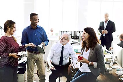 4 business people having informal meeting