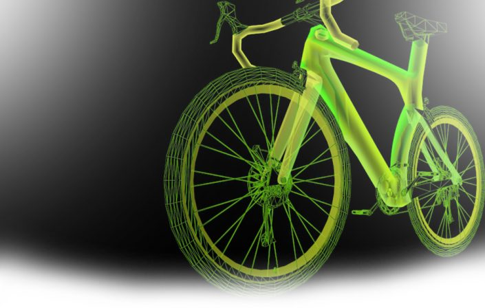 line drawing of neon yellow-green mountain bicycle