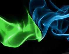 """neon blue and green """"smoke"""" coming together"""