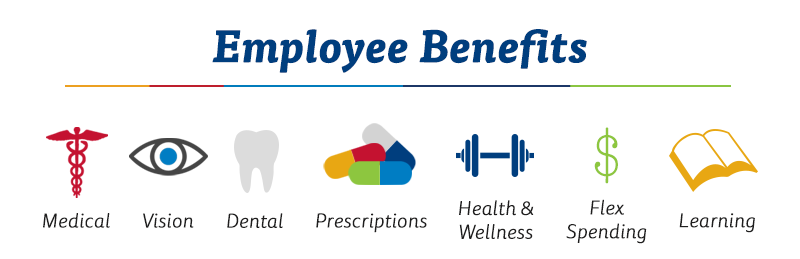 Employee benefits highlights include: medical, vision, dental, prescriptions, health & wellness, flex spending and learning.