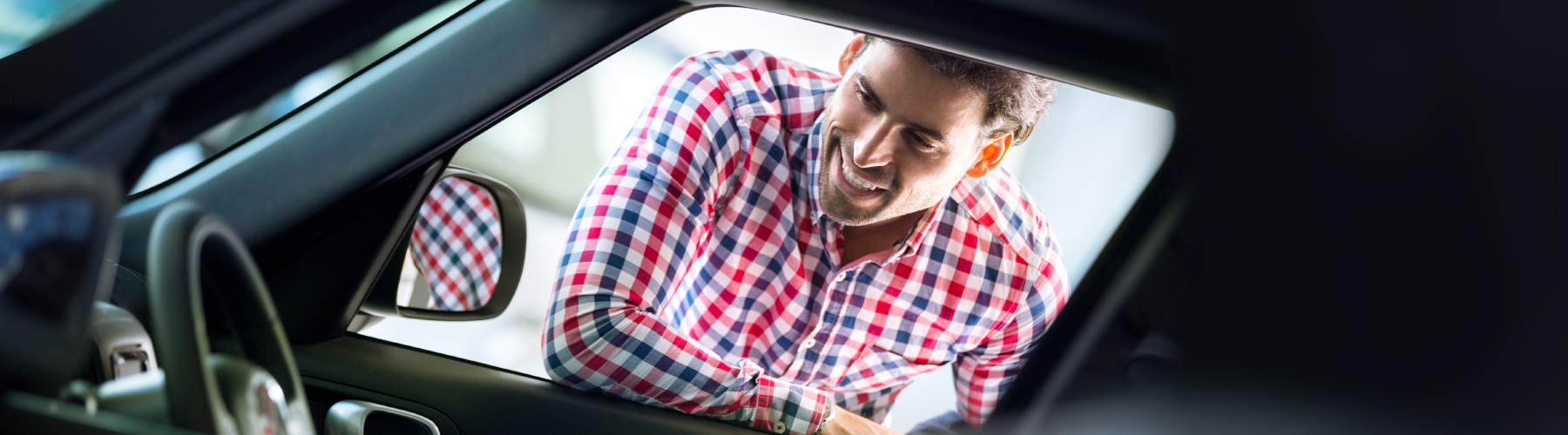 Customer checking the car for rent