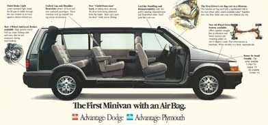 Print advertisement for first minivan with an airbag