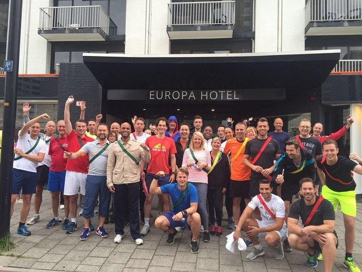 Sales kick-off team picture in front of Europa Hotel, fiscal year 2017