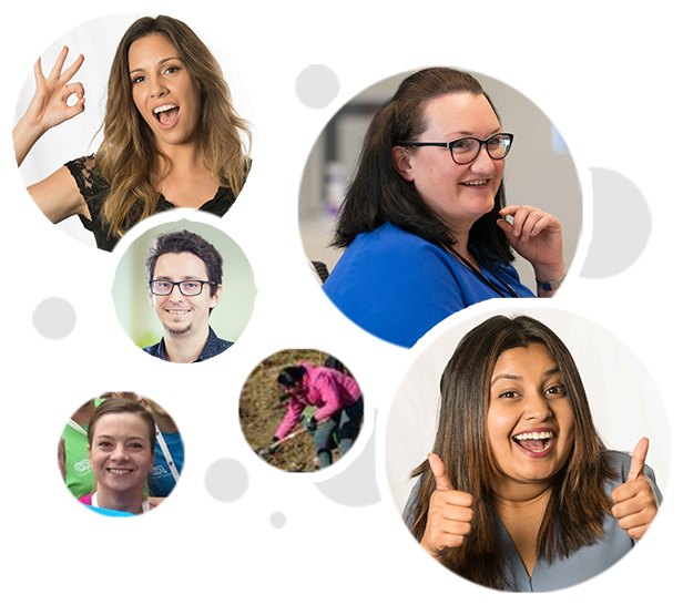 Photo collage of six different images featuring happy, smiling ADP employees enjoying their workplace, as well as participating in volunteer activities.