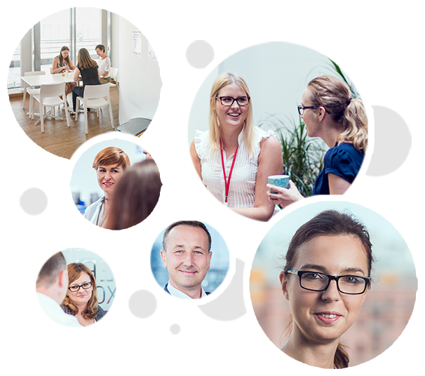 Photo collage of six different images featuring ADP employees in the workplace.