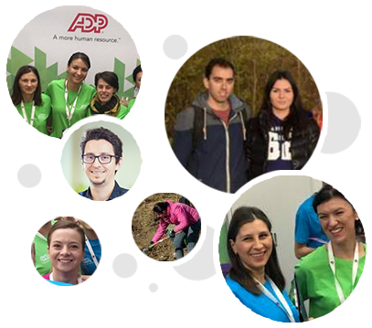 Colaj de fotografii format din șase imagini diferite cu angajații ADP la locul de muncă, precum și în aer liber.