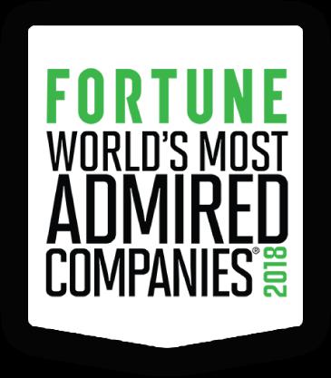 FORTUNE WORLD'S MOST ADMIRED COMPANIES 2018 — najbardziej podziwiane firmy na świecie NUMER 1 w dziedzinie USŁUG DANYCH FINANSOWYCH