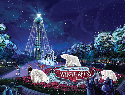 Kings dominion carousel winterfest rendering