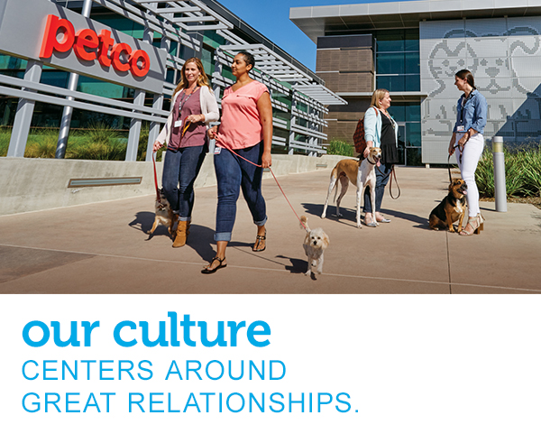 "Two women are walking and talking in front of Petco headquarters with their dogs on leashes, while another pair of women with dogs is stopped and chatting nearby. The Petco sign is featured large in the background. Text across the image reads ""our corporate culture encourages great partnerships."""