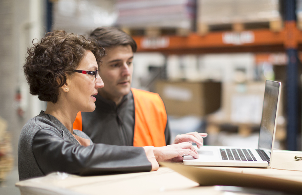 A female and a male distribution center employee consult a laptop for logistics details as they collaborate to track a shipment.