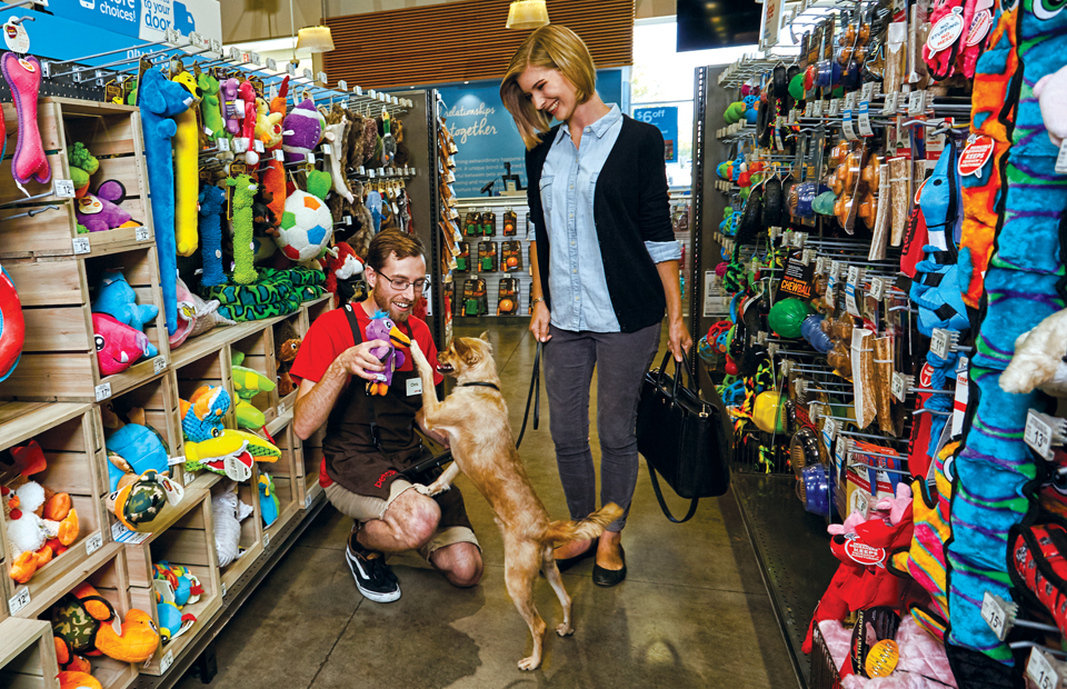 A male Guest Experience Specialist kneels, holding up a colorful toy for an excited dog, while his female pet parent looks on, smiling.