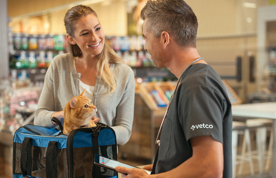 Male Veterinary Assistant is checking in a woman and her marmalade cat, who's peeking out the top of its carrier