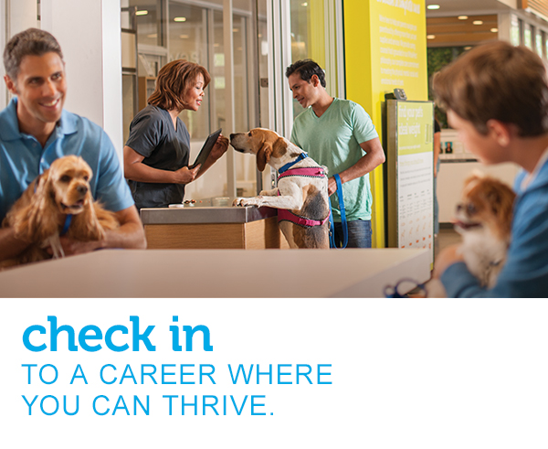 "A female Veterinary Assistant checks in an eager dog and his pet parent while two other young men with dogs wait for their turn. Text across the image reads, ""check in to a career where you can thrive."""