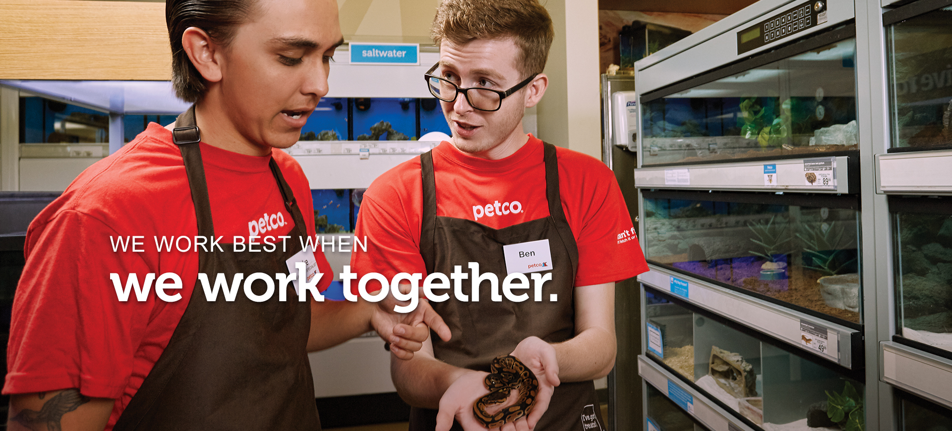 "Two male employees, a Sr. Aquatics Specialist and a Store Partner, are holding and examining a small snake. Text across the image reads ""we work best when we work together."""