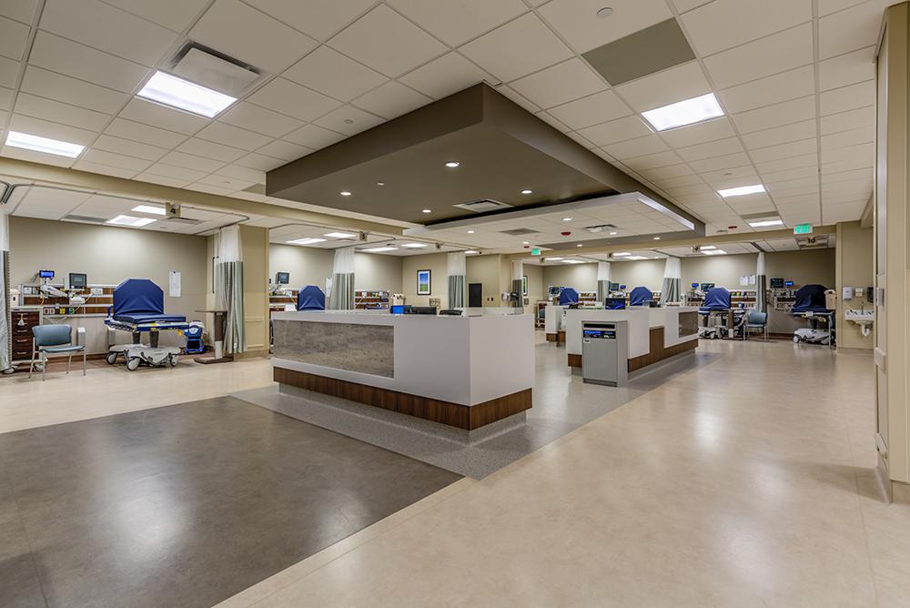 Nurses' station in hospital emergency department