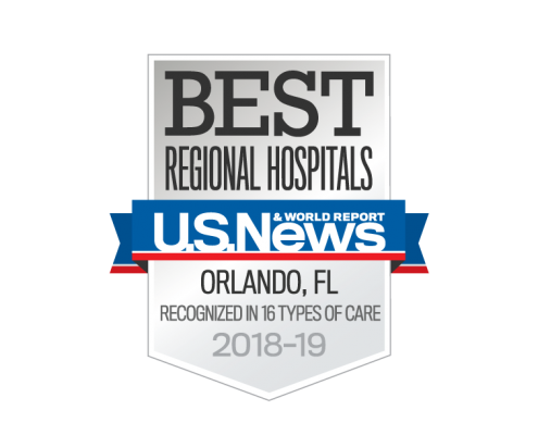 Best Regional Hospitals U.S. News Orlando, FL - recognized in 16 types of care - 2018-19