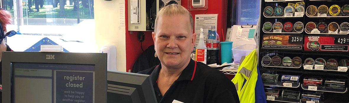 Denise at the Cash Register