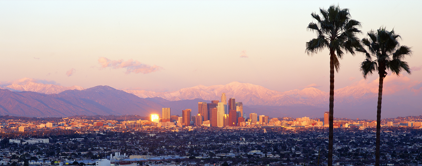 The Los Angeles skyline at sunset.