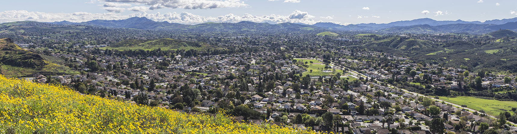 Houses within the Conejo Valley with mountains in the distance.