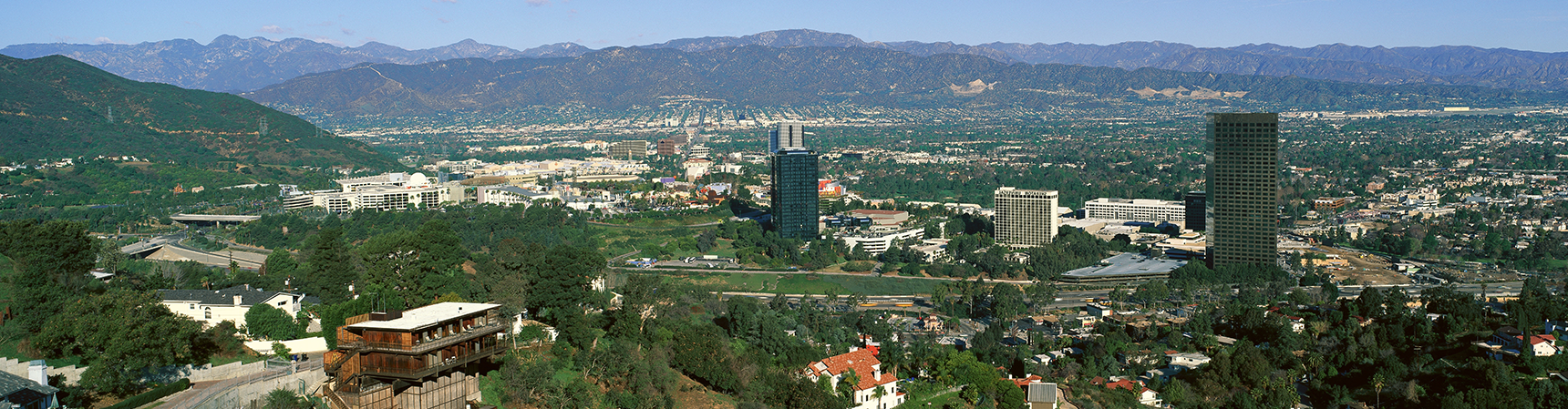 View of the San Fernando Valley from atop a hill.