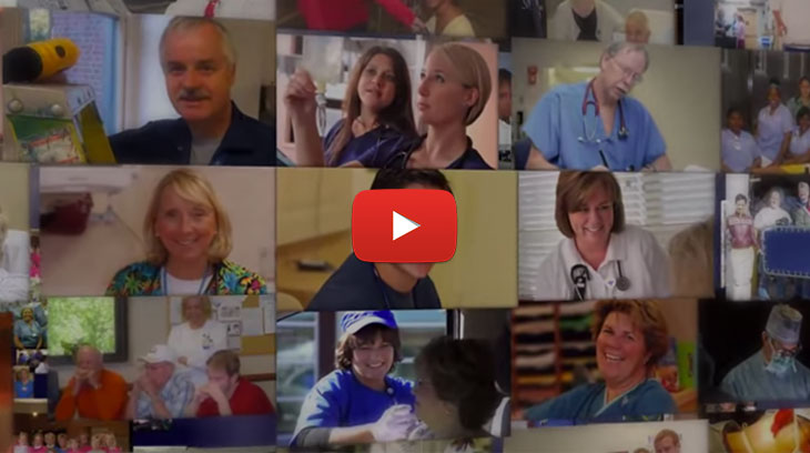 A collage of video stills showcasing the many facets of a career at Bon Secours.