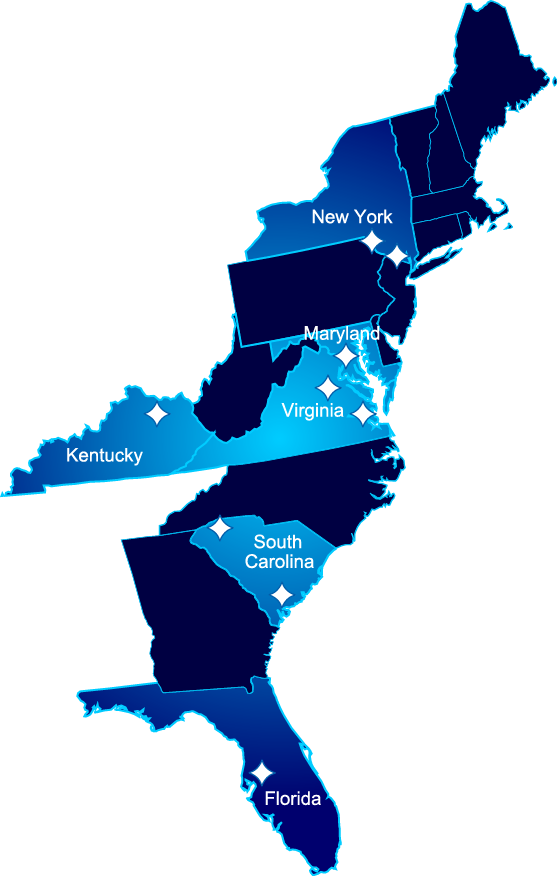 A map of the Eastern United States with New York, Maryland, Virginia, Kentucky, South Carolina and Florida highlighted to show Bon Secours locations.