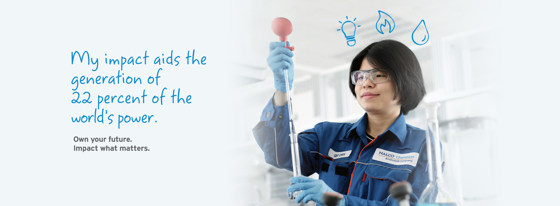 Woman wearing a blue lab coat and safety glasses holding a lab instrument. Caption reads: My impact aids the generation of 22 percent of the world's power. Own your future. impact what matters.