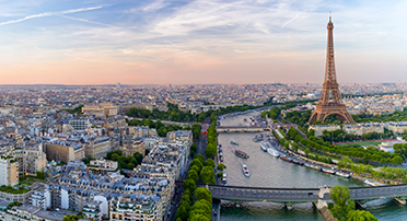 Eiffel Tower and surrounding areas along the Seine River