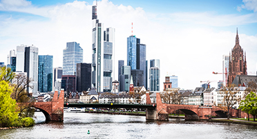 Daytime view of the Financial District in Frankfurt