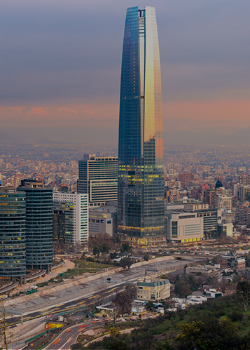 Skyline view of Gran Torre Santiago skyscraper in Chile