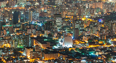 Aerial view of city lights in Valencia, Venezuela