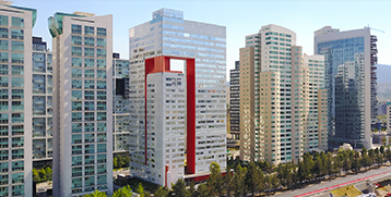Modern, tall buildings in Santa Fe, Mexico