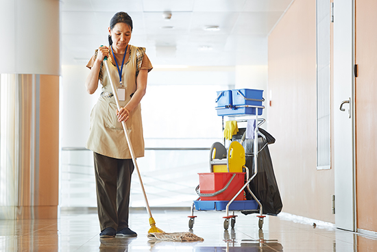 maid is cleaning the floor