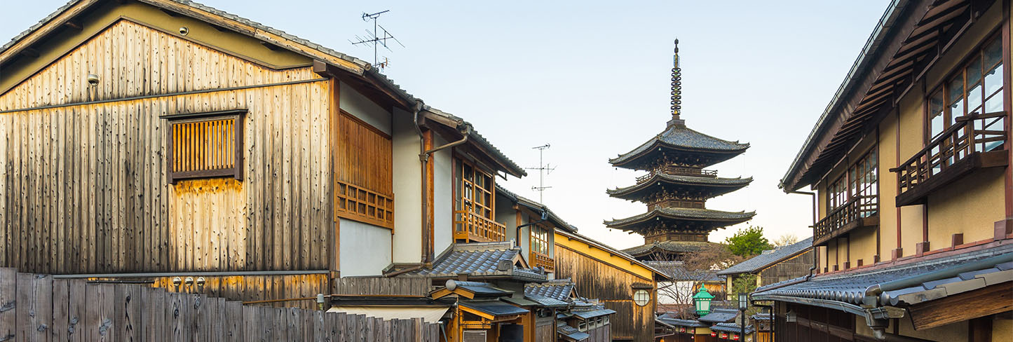 Japanese pagoda flanked by older structures