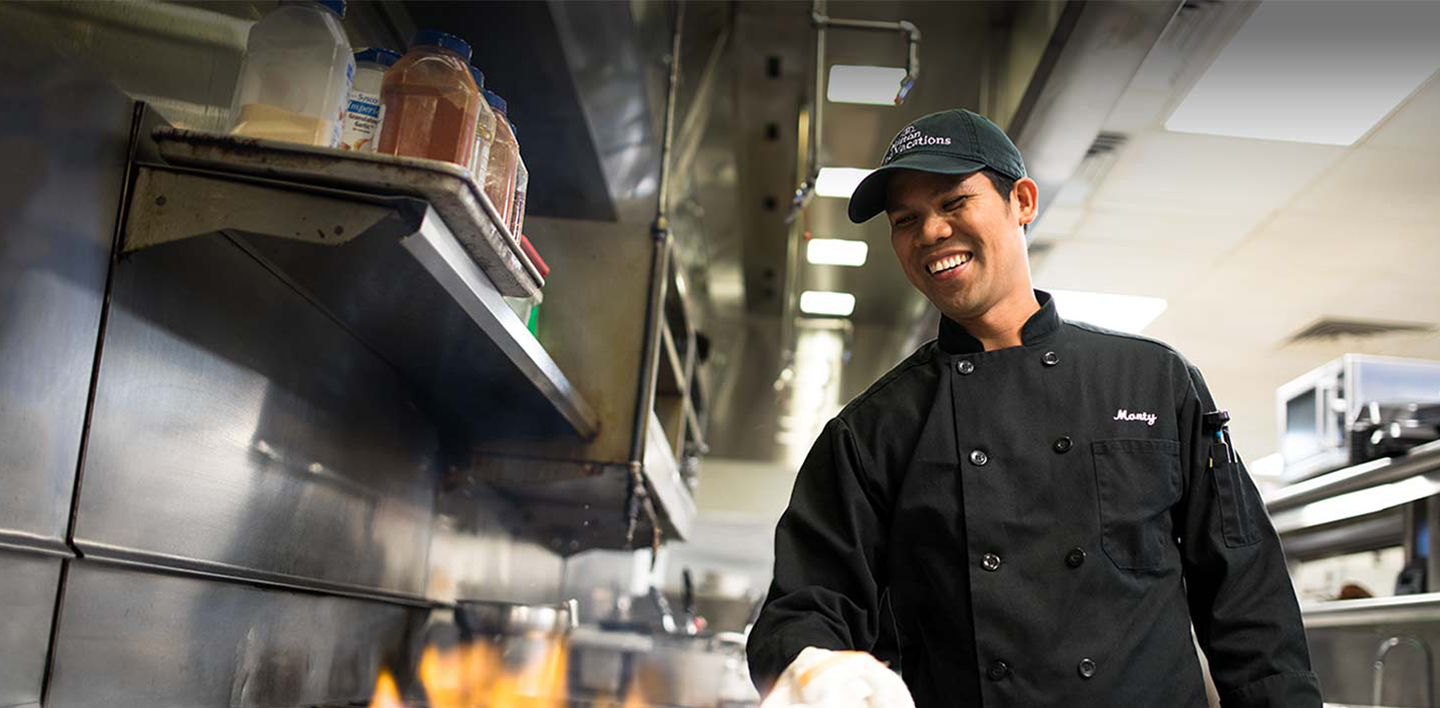 smiling HGV team member cook