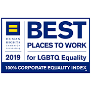 2019 logo for the Human Rights Campaign, Corporate Equality Index award, Best places to work for LGBTQ Equality