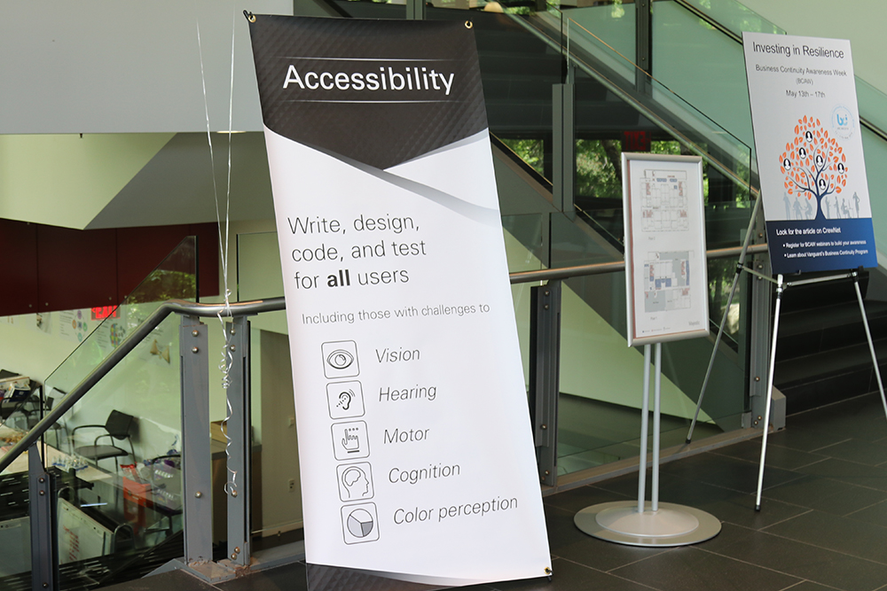 Signage at an Accessibility event