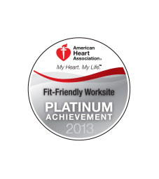 American Heart Association. My Heart. My Life. Fit-Friendly Worksite Platinum Achievement 2013