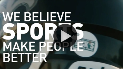 Video thumbnail of Dick's Sporting Goods merchandise with the following words superimposed over the image in white font: We Believe Sports Make People Better