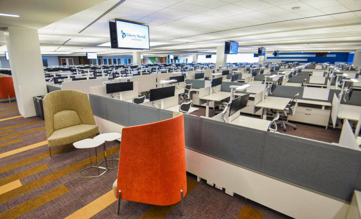 open workspaces in Liberty Mutual Plano, TX office