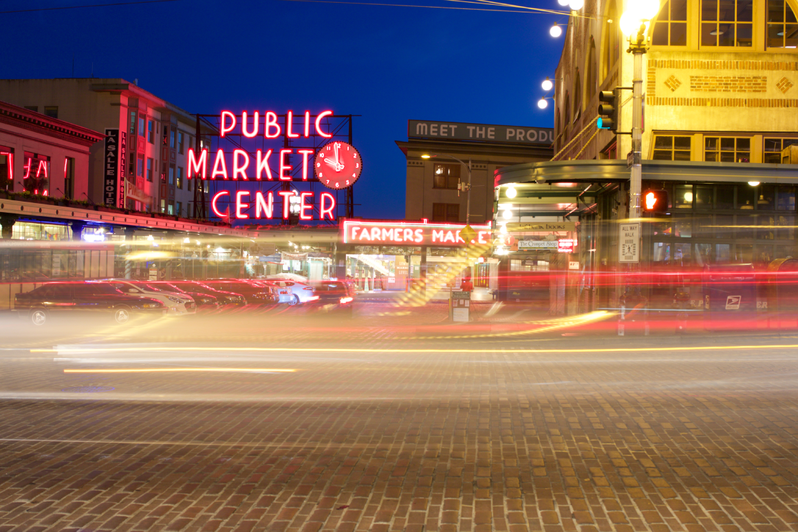street view of public market center, Seattle at night
