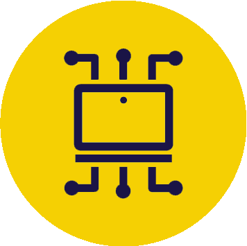 Icon line drawing of technology/systems