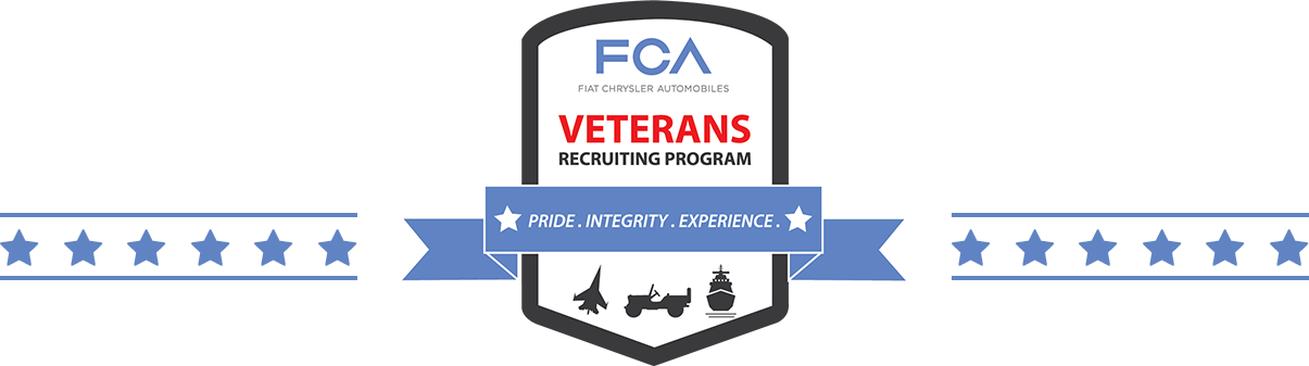 FCA veterans recruitment program. Pride. Integrity. Experience