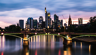 View of Frankfurt cityscape at twilight