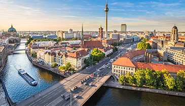 Aerial view of Berlin featuring the Spree River