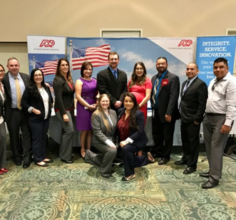 group of ADP recruiters at a military hiring event