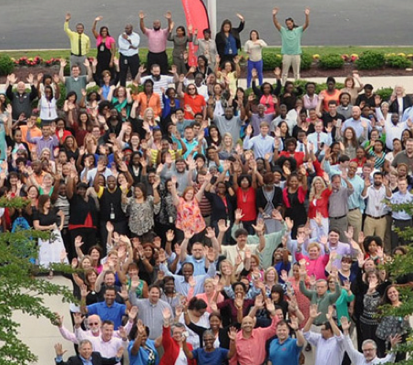 aerial view of a large group of ADP associates from the Norfolk office
